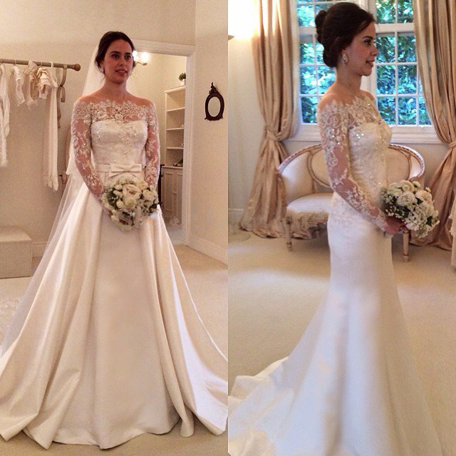 Off The Shoulder Satin Wedding Gown Lace Sleeves