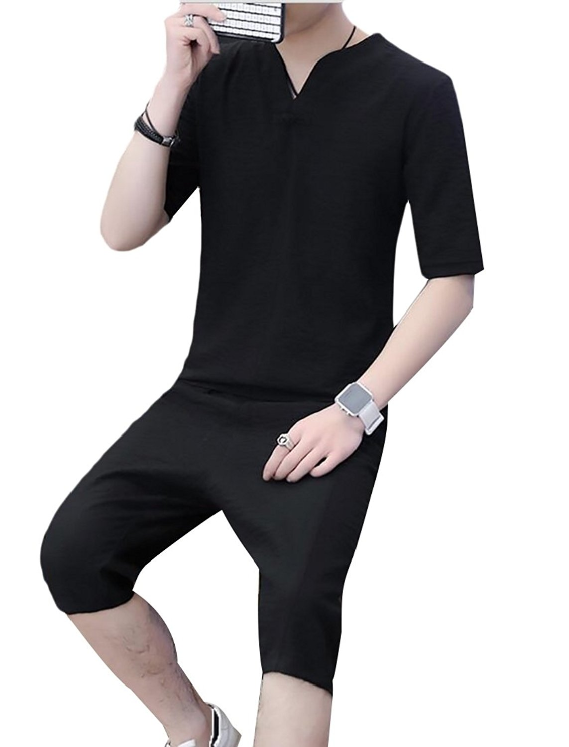 45faef335 Generic Mens Leisure Short Sleeve Chinese Style Tops Shorts Cotton Linen  2PC Set Tracksuit