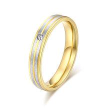 Кольца из нержавеющей стали для женщин, один циркон, серебро, двухрядные, персонализированные, на заказ, Обручальные, модные, ювелирные изде...(Китай)
