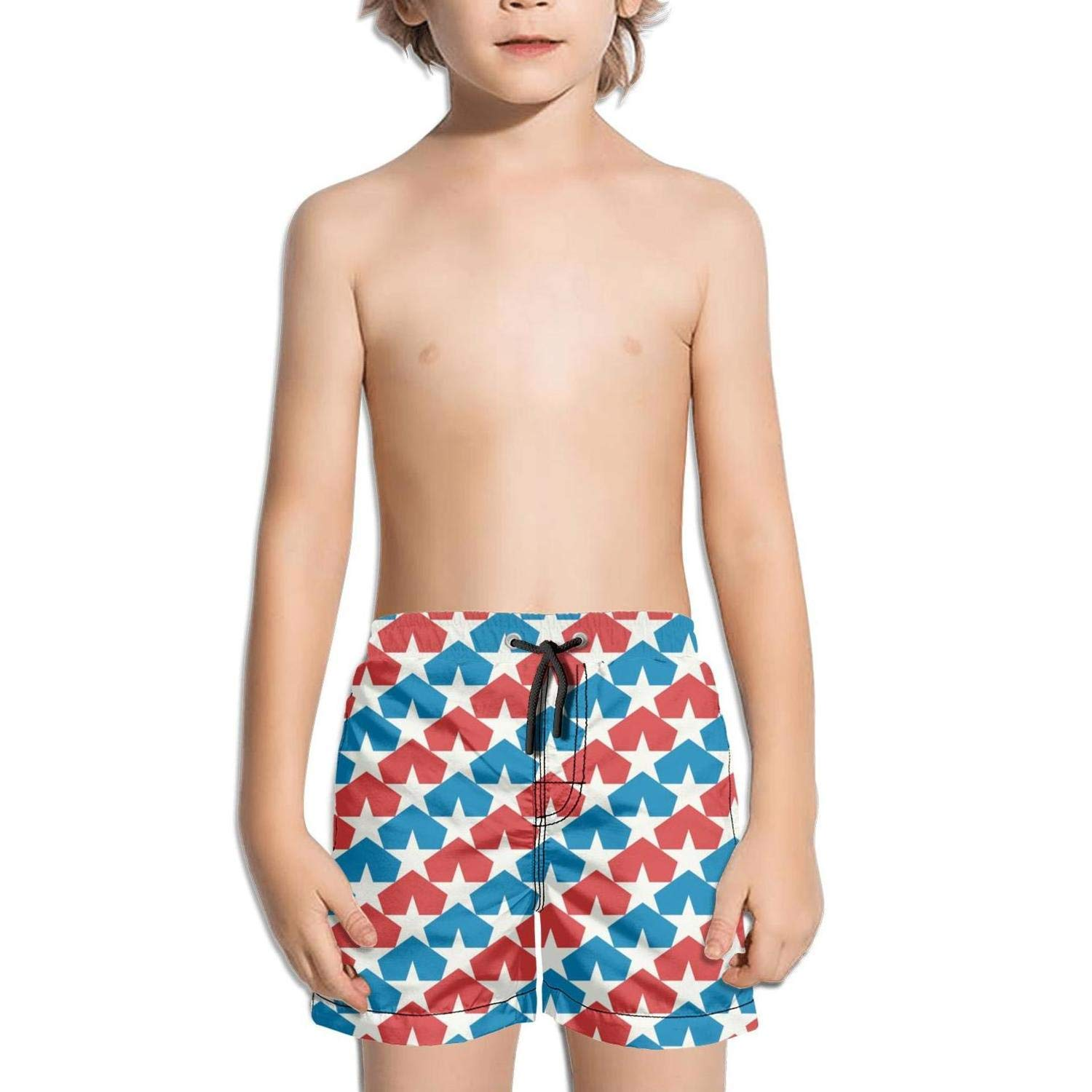 BingGuiC Boys Quick Dry Shorts American Flag Backgrounds Fashion Swim Trunks