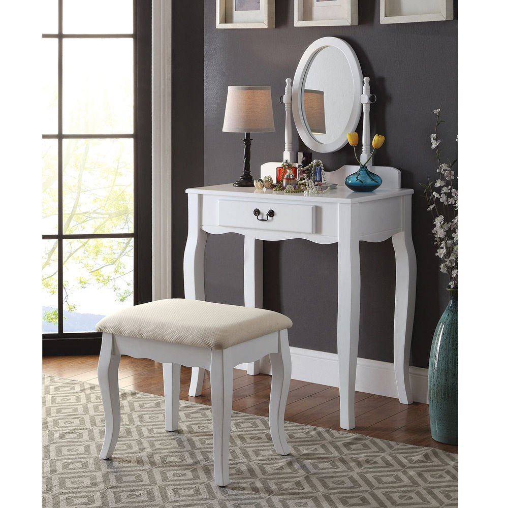 1PerfectChoice Samantha Bedroom Vanity Makeup Table Oval Mirror Drawer Padded Bench White Wood