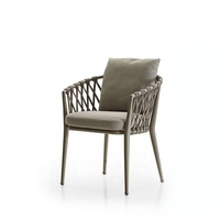 All Weather Garden Cafe Restaurant Woven Rope Aluminum Furniture Patio Chair for Outdoor with Armrest