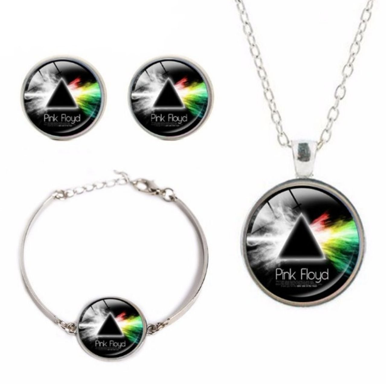 Pink Floyd Album Logo Glass Domed Pendant Necklace, Earring, Braclet Set