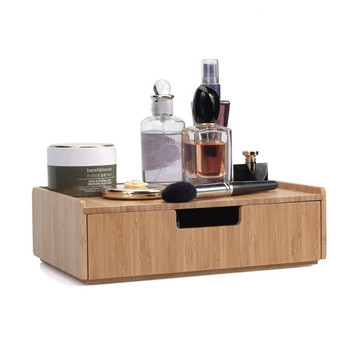 Bamboo office desk space save cosmetic makeup desktop collection storage table holder organizers with drawer
