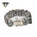 Adjustable double wall paracord bracelet,550 paracord survival bracelet with campass and firestarter