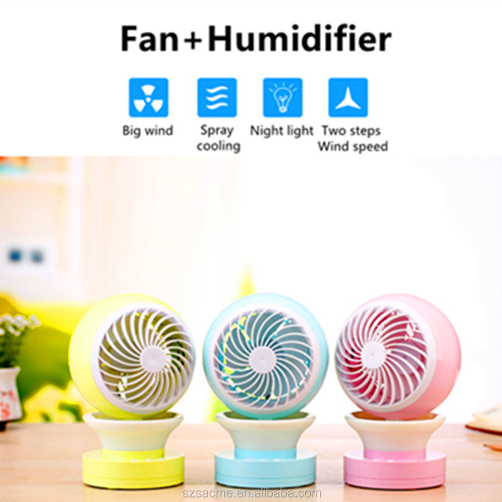 Air Cooler Fan USB Table Humidifier Home Mini Mist Fans with LED Light