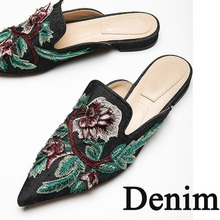 MONMOIRA Velvet Flower Embroider Women Mules Pointed Toe Floral Women Flats  Shoes Pink Valentine Shoes Wedding 23535f9abf83