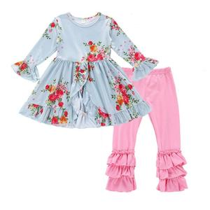 Wholesale Promotional Fall Boutique Outfits Print Girls Clothing Set Girl Ruffle Outfits