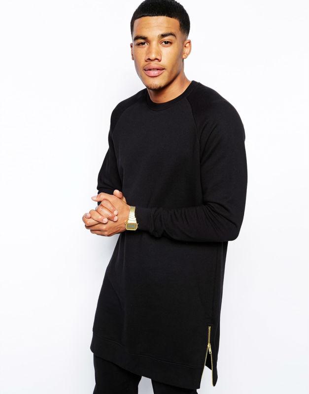 men 39 s high fashion street wear crew neck black extra long. Black Bedroom Furniture Sets. Home Design Ideas