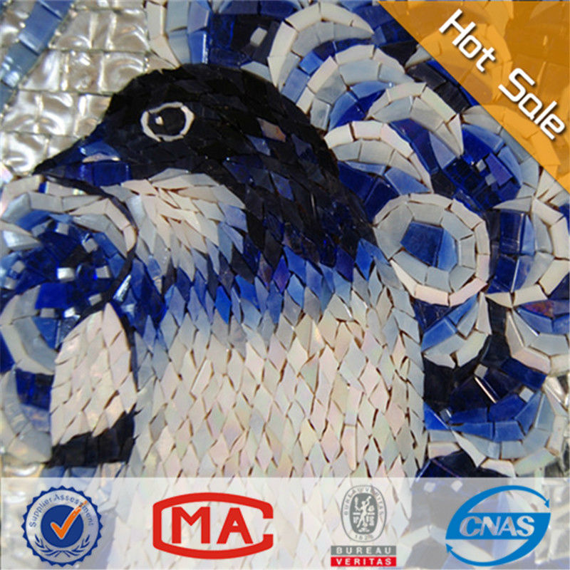 Lj Chinese Style Art Wall Mural Tiles Blue Glass Mosaic Flower And ...