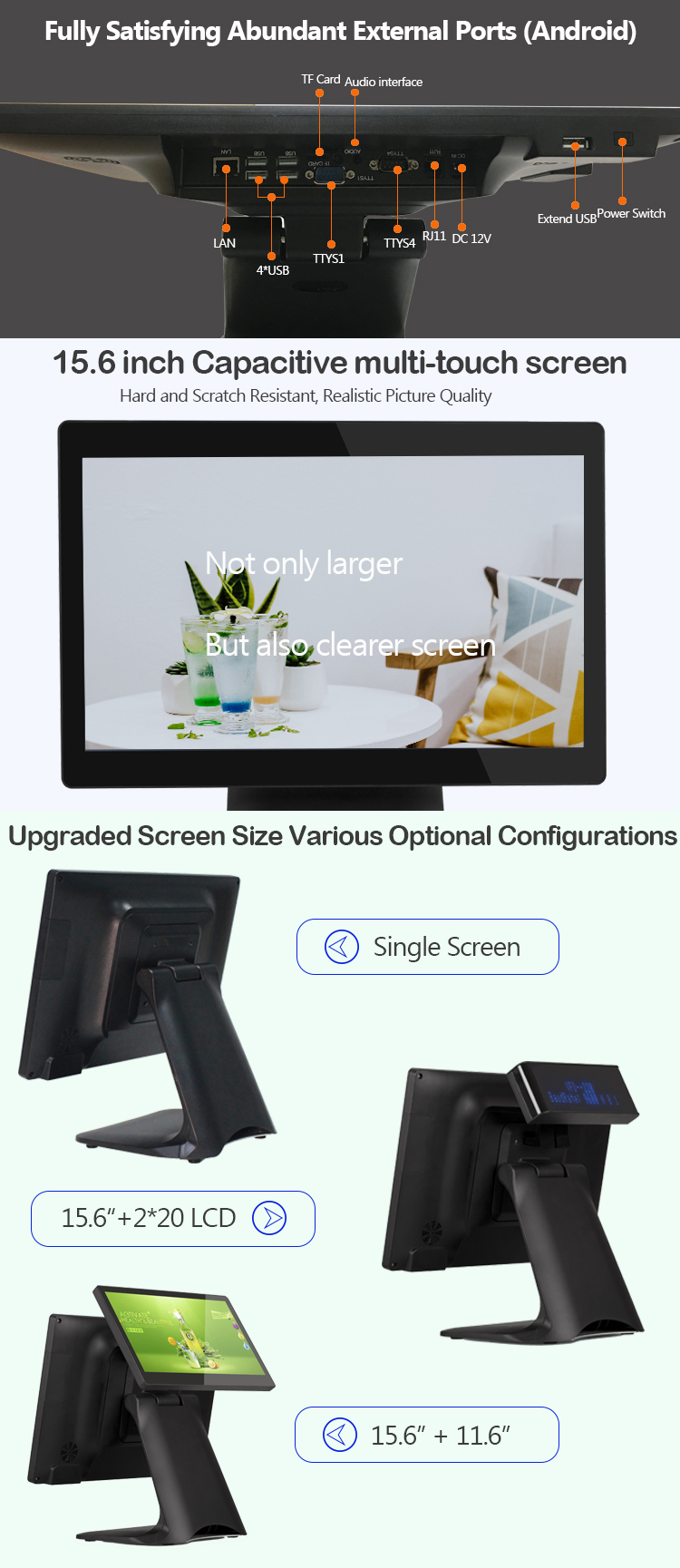 modern design all in one android restaurant free sdk RK3288 pos motherboard