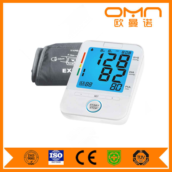 Three color backlight LCD 2017 Arm blood pressure monitor with charge measurement