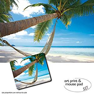 Gift Set: 1 Poster Art Print (47x31 inches) + 1 Mouse Pad (9x7 inches) - Beaches, Palm Beach With Hammock