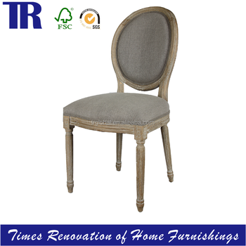 French Louis XVI Side Chair, Round Back Armless Dining Chair,Antique Solid  Oak Dining