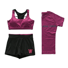 PT Sports Women's Sports Bra Set Yoga Clothing Suits, Run Racerback & Shorts & T-shirts Gym Outfits