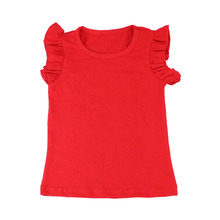 Wholesale kids solid color t shirt Summer kids wear ruffle sleeve blouse baby t shirts