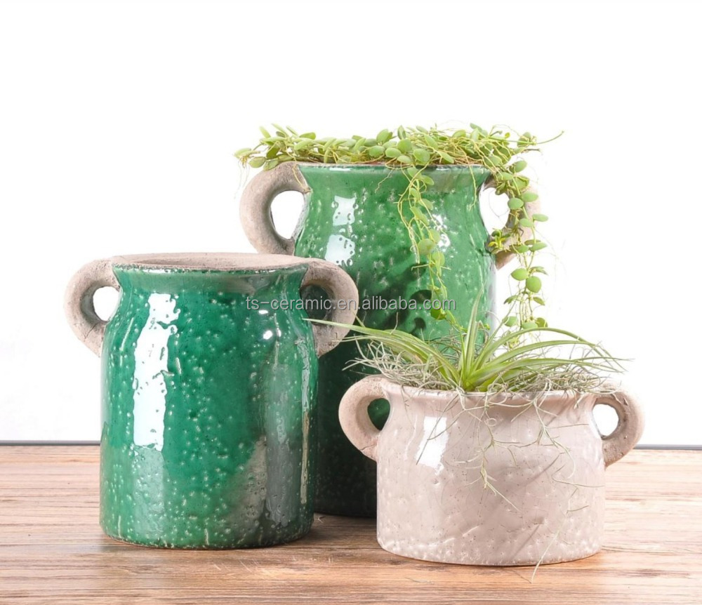 garden decoration wholesale natural style crackle glazed ceramic flower pot with era