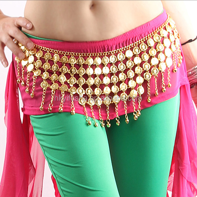 100 handmade metal gold/silver coin dance accessories waist chain belly dance belt