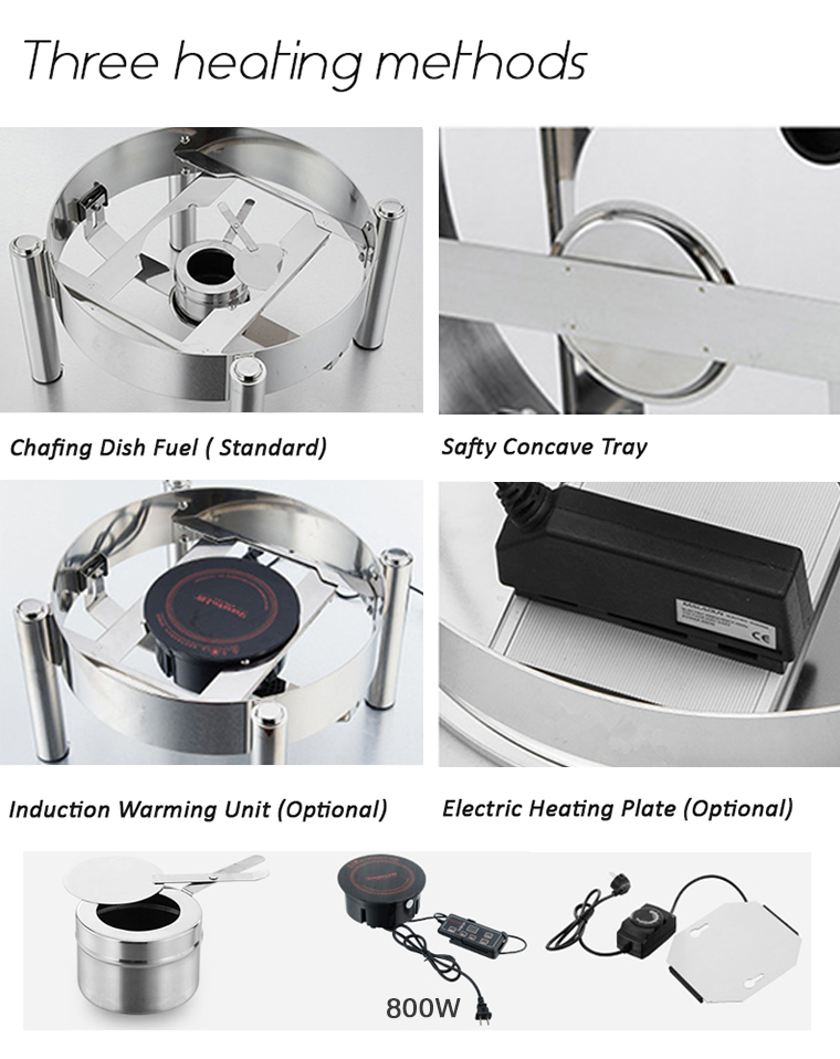 304 Stainless Steel Hydraulic buffet electric food warmer chafing dish glass lid 4qt Round Stainless Steel Chafer Body Glass lid