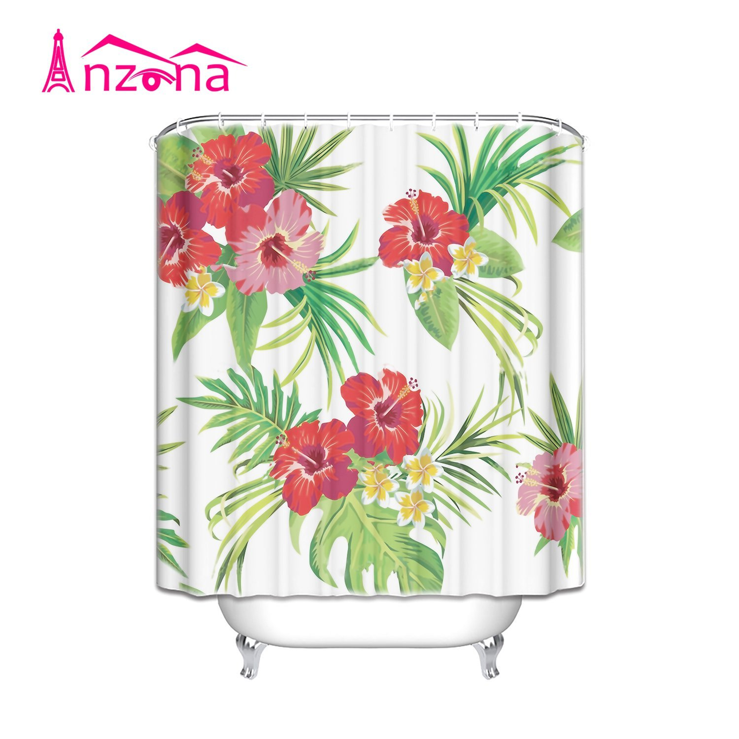 Buy Black Hibiscus Tropical Floral Fabric Shower Curtain In
