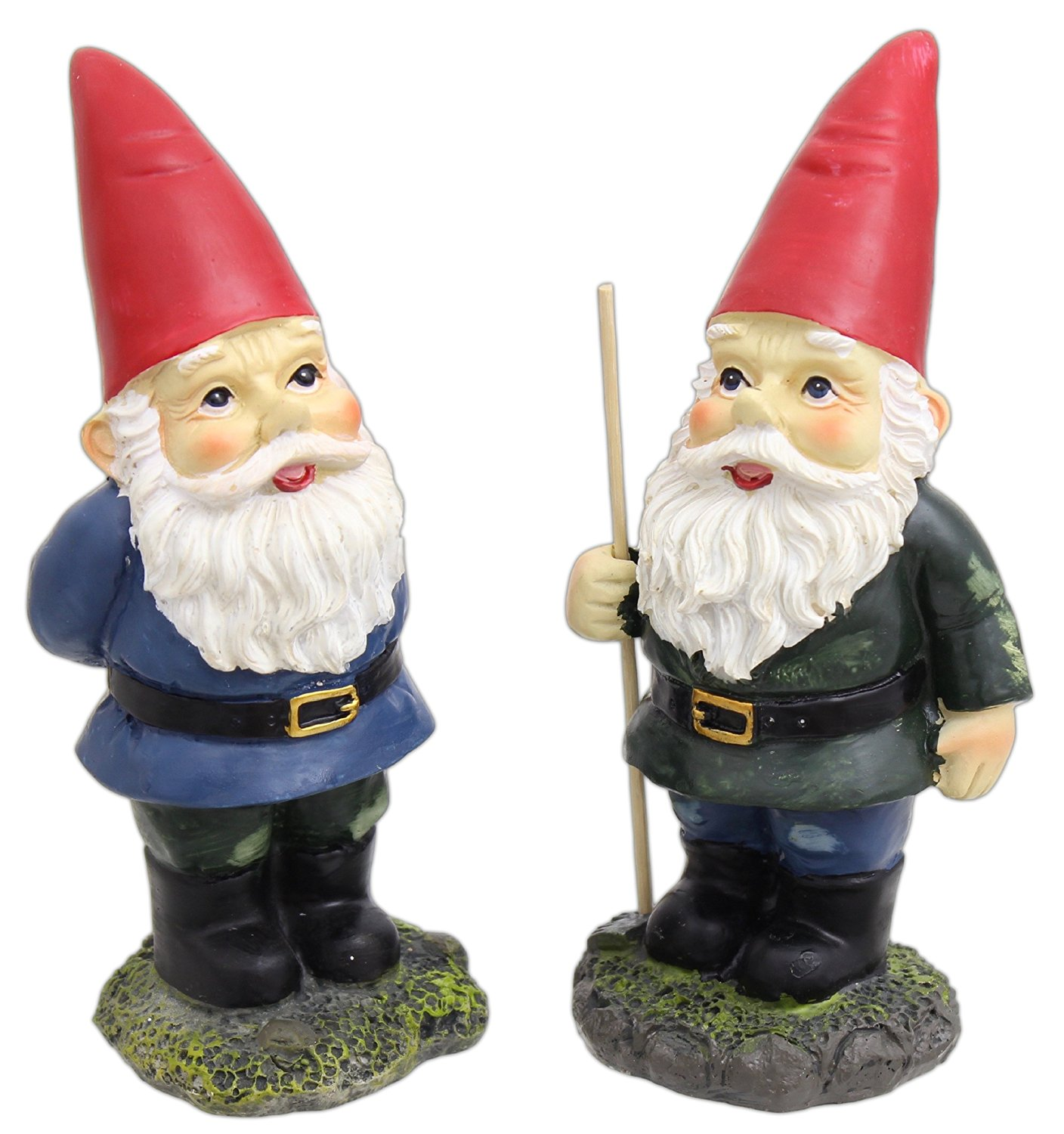"Mayrich Co. 8"" Set of 2 Assorted Garden Gnome Statues"