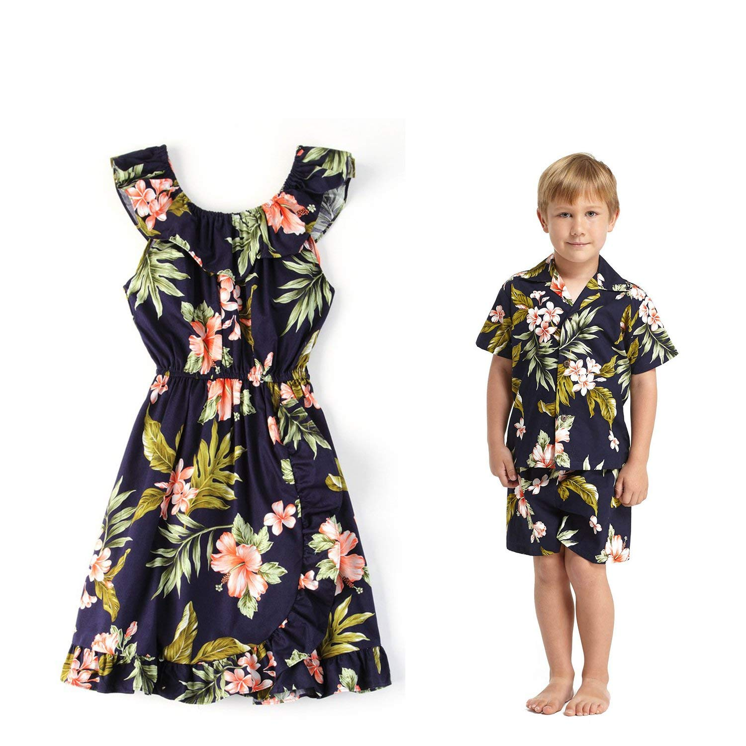 337946aaa565 Get Quotations · Hawaii Hangover Matching Boy and Girl Siblings Hawaiian  Luau Outfits In Navy With Pink Floral