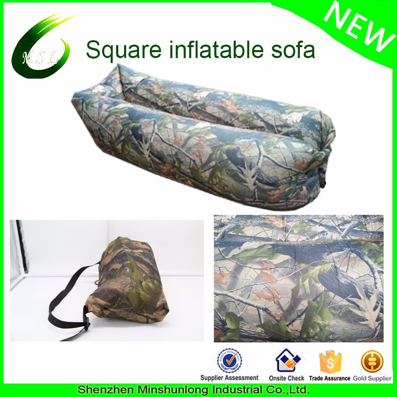 2017 New fashion nylon camouflage laybag, inflatable beach lounger paypal available