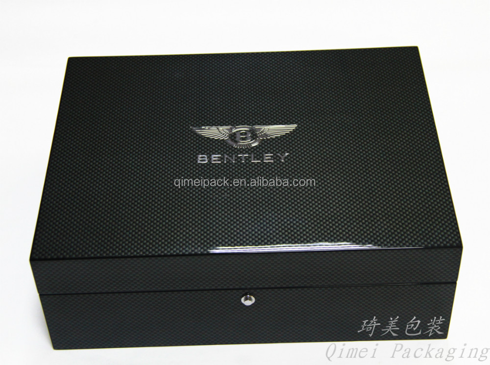 Luxury handcrafted high glossy wooden gift box carbon fiber jewelry & watch boxes high quality