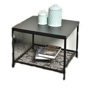 Avery Square MDF Side Table with Pierced Shelf Modern Design Black Wooden Coffee Table for Living Room