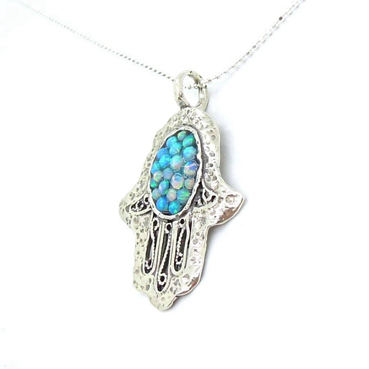 sterling silver multiple opal gemstone hamsa pendant