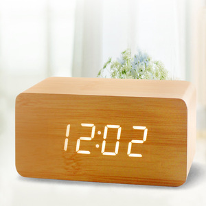 Preciser Modern LED Temperature Humidity Electronic Desktop Wood Alarm Table Clocks