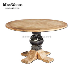 solid oak wood top and base with stainless steel round large dining table