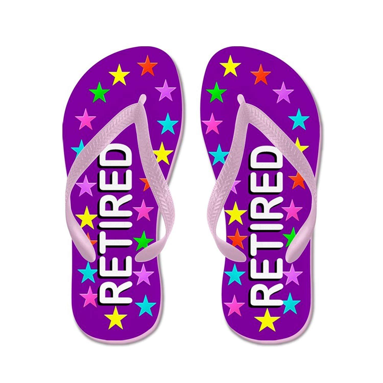 68b9e94f65fc Get Quotations · CafePress Purple Retired - Flip Flops