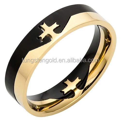 Brand New Mens Titanium Knights Templar 18K Gold Plated Cross Ring
