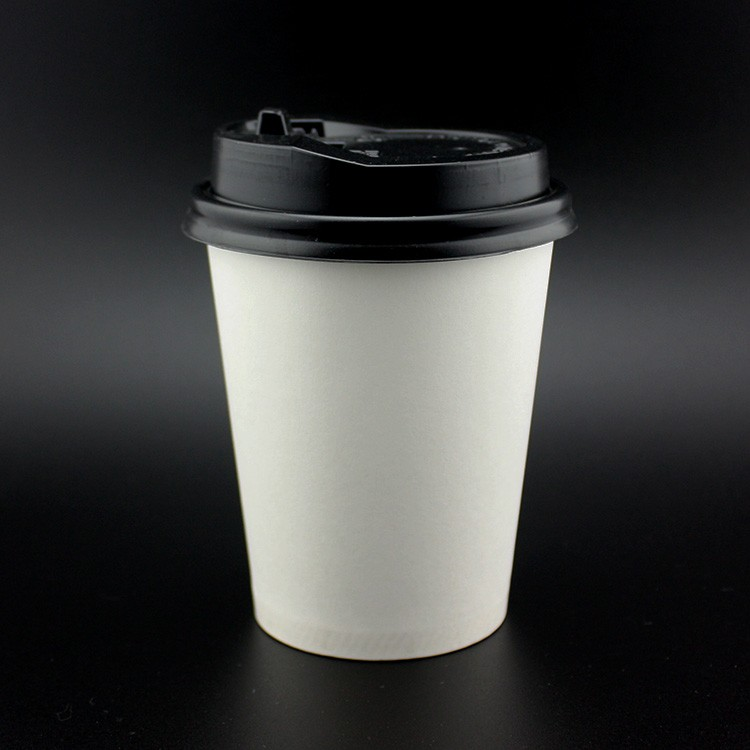 Stocked S 9oz Disposable Paper Plain Coffee Cup With Lids