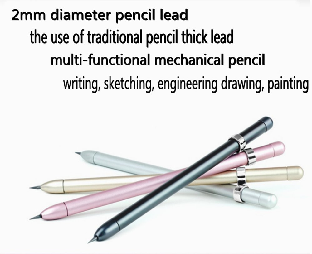 Aerospace Aluminum Mechanical Pencil Multifunctional Pencil (send some free gifts) (rose golden)