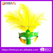 Carnival whosale cheap PVC Venetian Mask With real feather Decoration