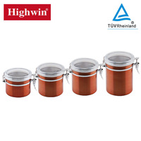 Best selling products colored finished stainless steel canisters wholesale with kitchenware and tableware