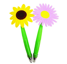 Personalized colorful PVC sunflower pen, sunflower pen for promotion, superrmarket promotion pen