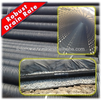 Porous Corrugated Perforated HDPE Drainage Pipe 200mm, Robust Drain Rate