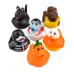 ICTI certificated custom made Halloween Rubber Ducks bath toys Set