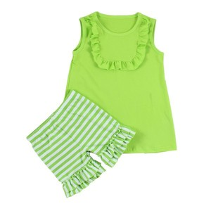 Kaiyo newest toddler baby girls ruffle sets 2pcs tank bib blank top and double ruffle strip short pant girl outfit