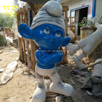 Hand painted fiberglass resin cartoon Smurf sculpture