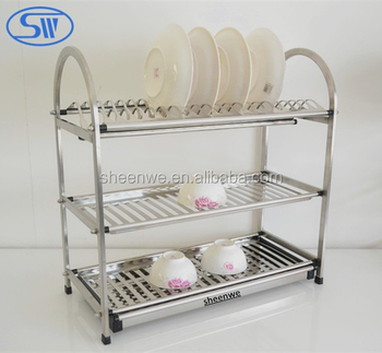 Guangzhou Factory Supply 3 Tier Kitchen Stainless Steel Dish Rack