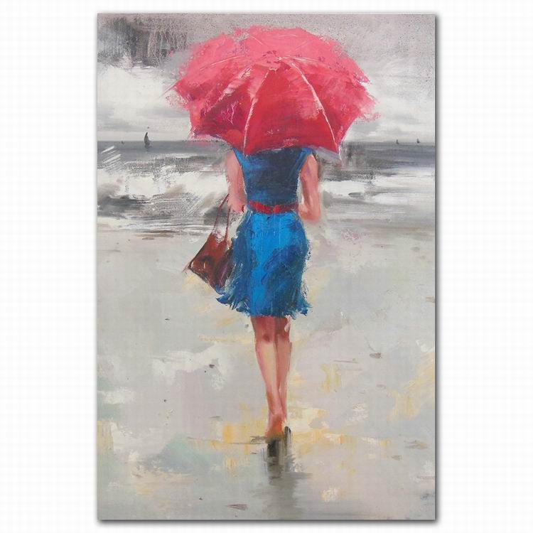 canvas abstract girl impressionist lady with umbrella oil painting art