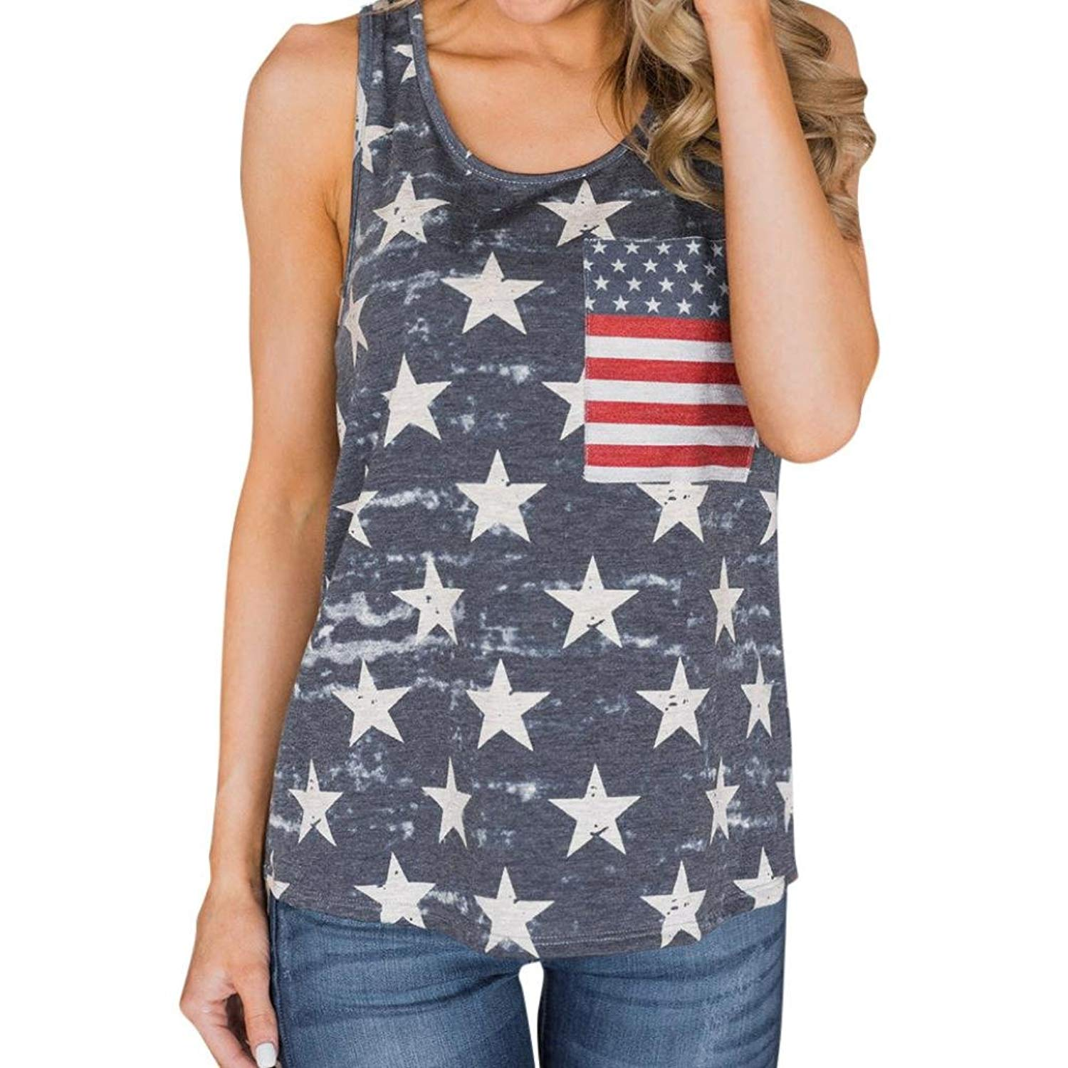 d8642d8cede896 FDelinK Women's American Flag Tank Vest Tops Casual 4th July Sleeveless  Blouse T Shirt