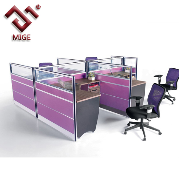 Four people modern melamine board glass partition modular workstation