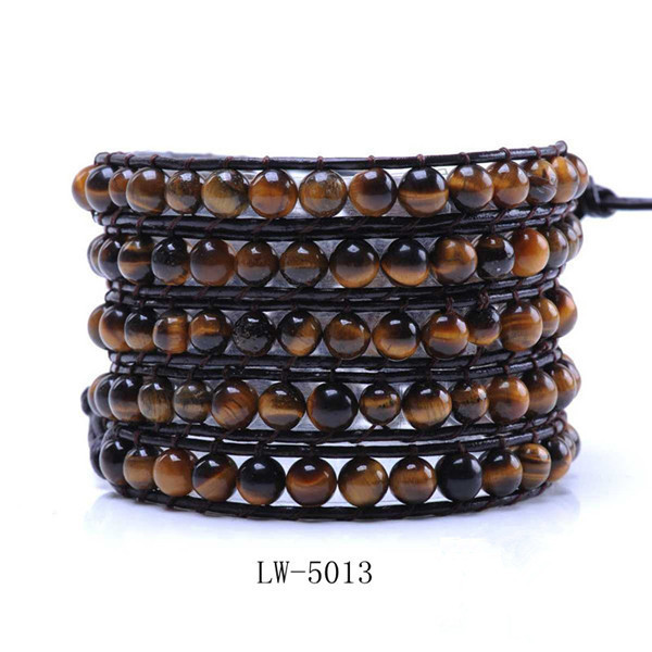 Wholesale Newest Popular Multicolor Natural Stone Woven 5 Wrap Bracelet On Brown Leather
