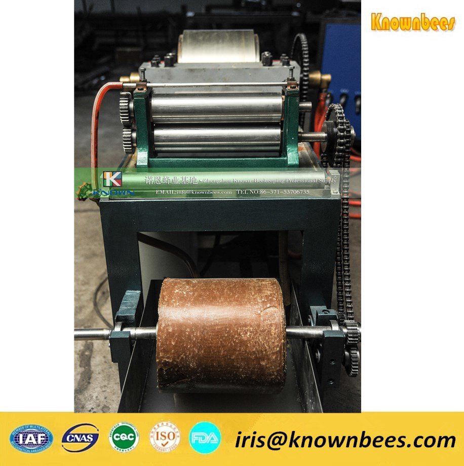 Semi-automatic beeswax comb foundation sheet making machine and embrossing machine