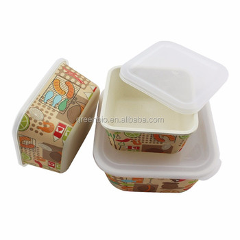 Eco friendly 3 piece with lid snack storage boxs bamboo for Decor 6 piece lunchbox